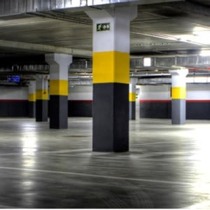 line marking and painting in underground parking garage