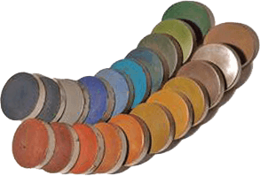Samples of dyed portland cement-based polished concrete.